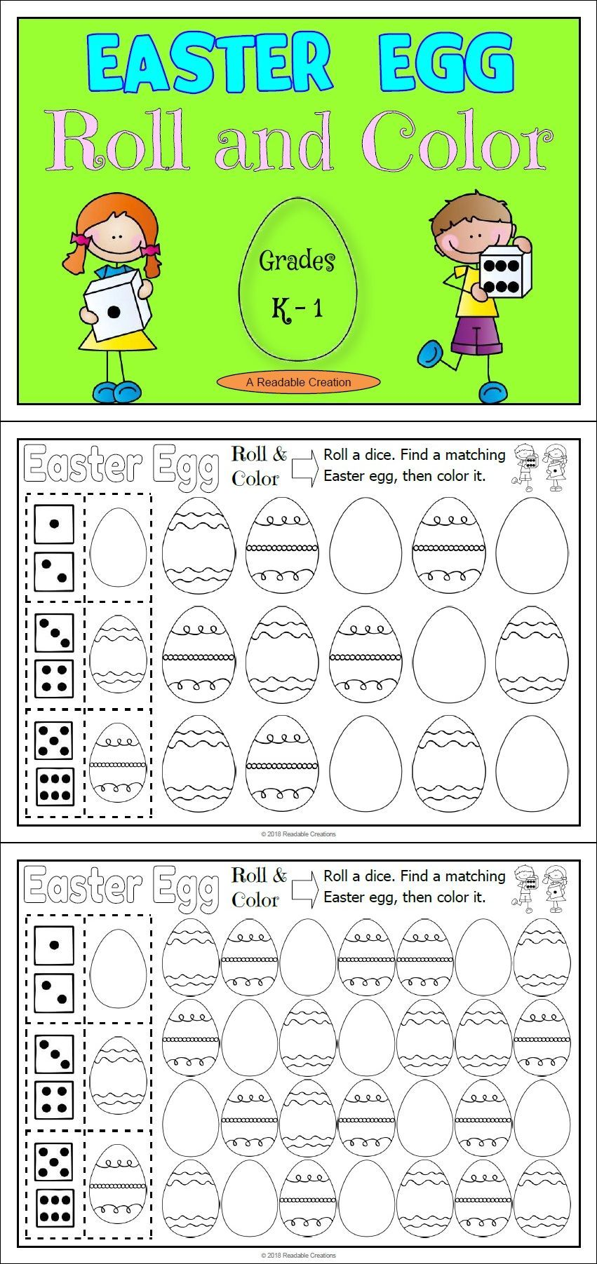 Easter Egg Roll and Color / Colour | TpT Math Lessons | Pinterest ...