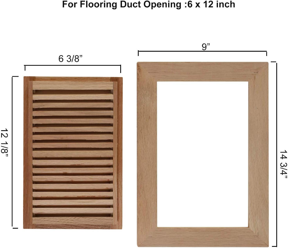 4x10 Red Oak Flush Mount Floor Register Vent With Frame Unfinished By Welland Overall Dimension Is 12 375 X 6 75 X 0 75 Red Oak Flush Mount Floor Registers