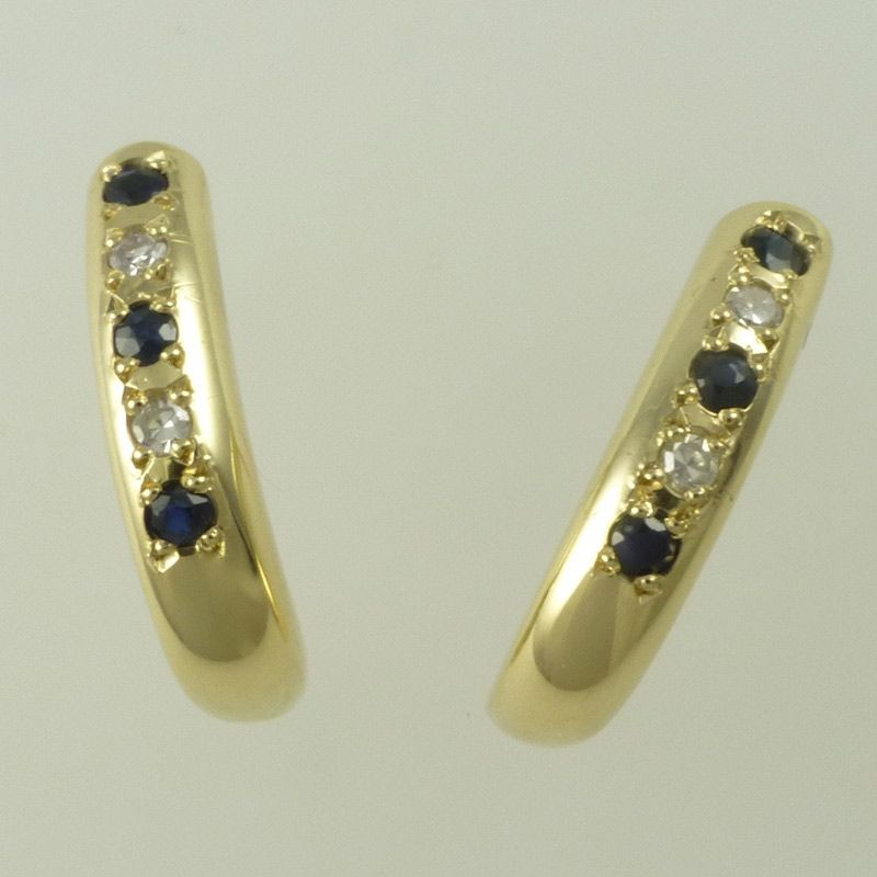 9 Carat Yellow Gold Hoop Earrings With Shires And Diamonds