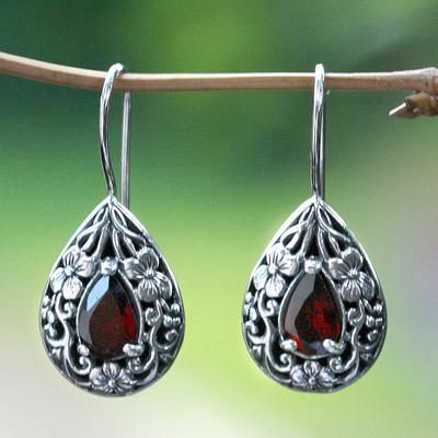 """""""HELP UNICEF"""" ~ Floral Sterling Silver, and Garnet Earrings, 'Lovely Daisies' ~ market.unicefusa.org"""