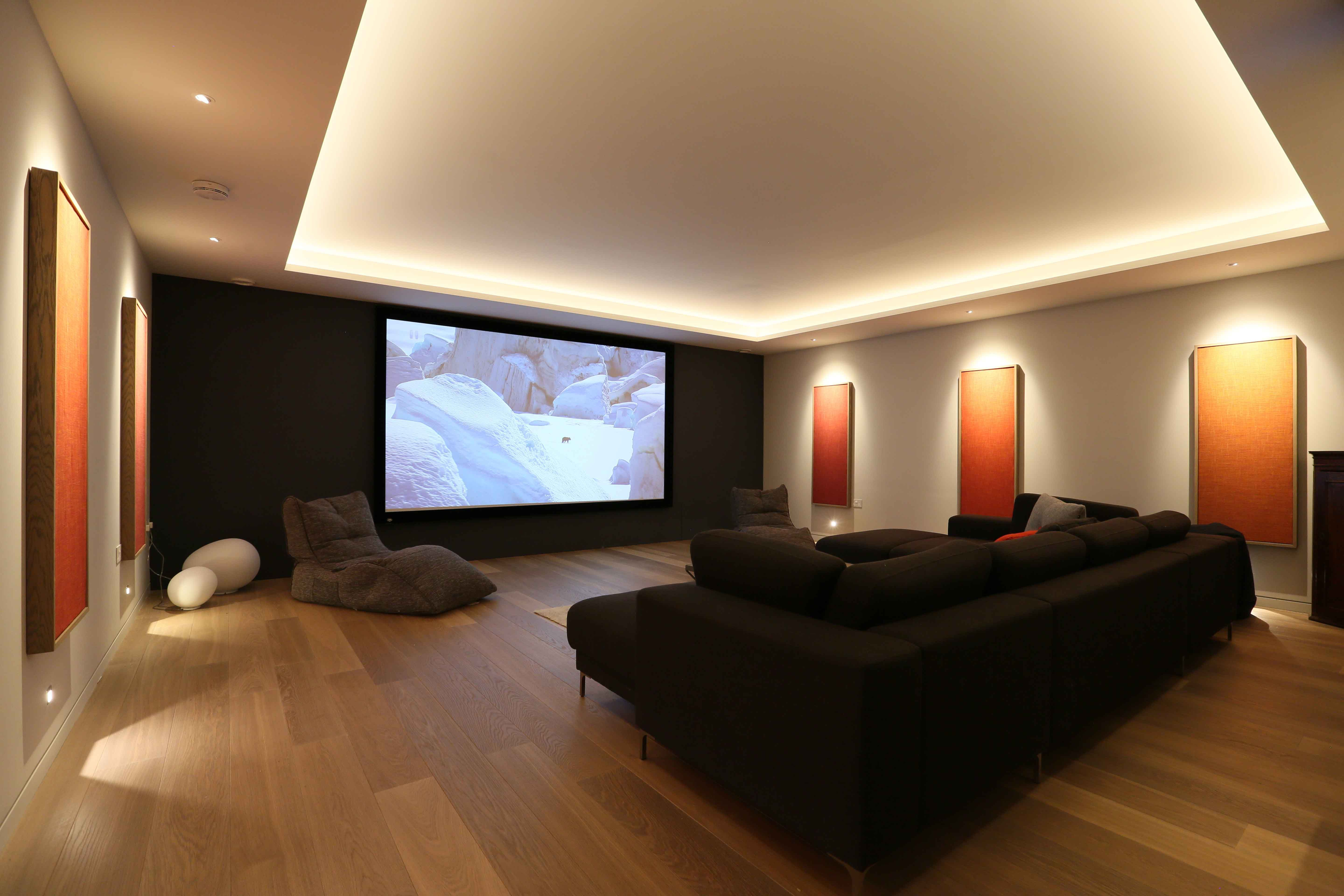Cinema entertainment room lighting john cullen cinema lighting cinema room lighting design using discreet wall lights downlights and a contour strip in the ceiling aloadofball Choice Image