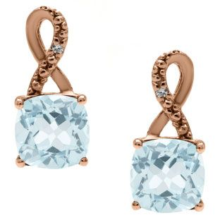 Rose Gold Cushion-Cut Aquamarine Birthstone Diamond Drop Earrings Jewelry Available Exclusively at Gemologica.com