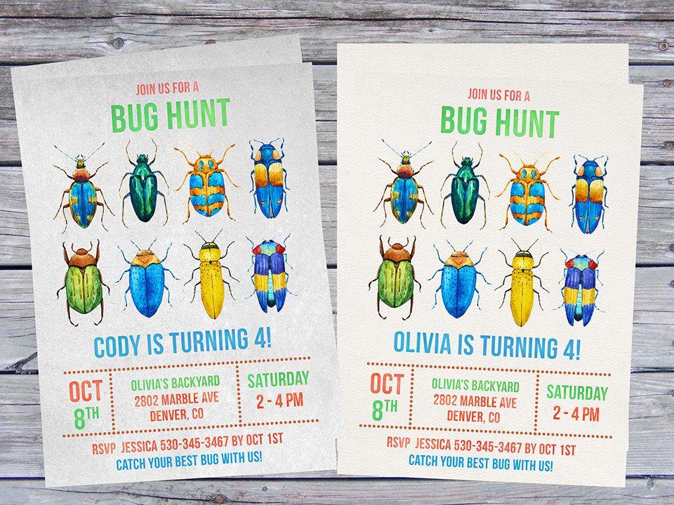 Bug Birthday Invitation, Insect Invitations, Insects Invitation ...
