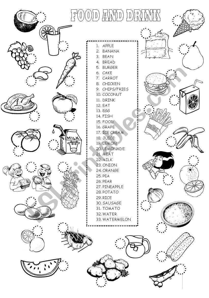 small resolution of food and drinks vocabulary: A worksheet about FOOD AND DRINKS based on the  Cam...   Teaching helpers
