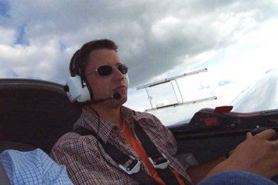 Me in a motor glider over the Harz mountains.