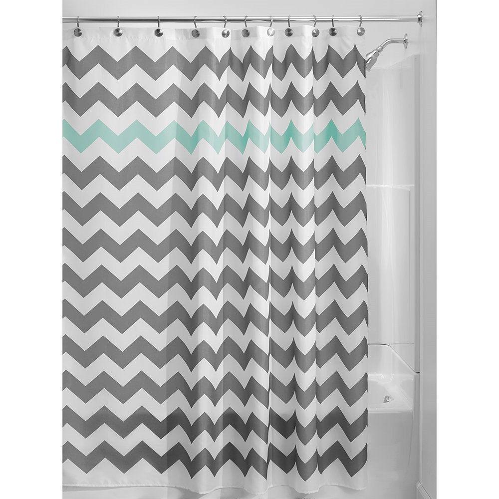 Chevron Gray Shower Curtain - Grey aqua blue white chevron polyester fabric 72 inch shower curtain