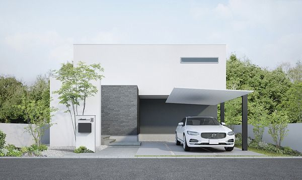 Lixilが次世代カーポート発表 アルミ材のシンプル構造で住宅にマッチ 施工性や質感を向上 2枚目の写真 画像 カーポート モダンハウスの外観 カーポートのデザイン