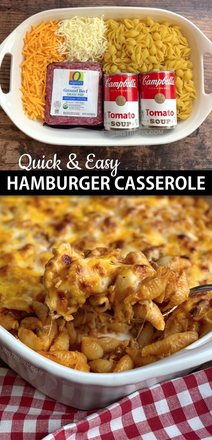 Easy Hamburger Casserole Recipe (4 Ingredients)