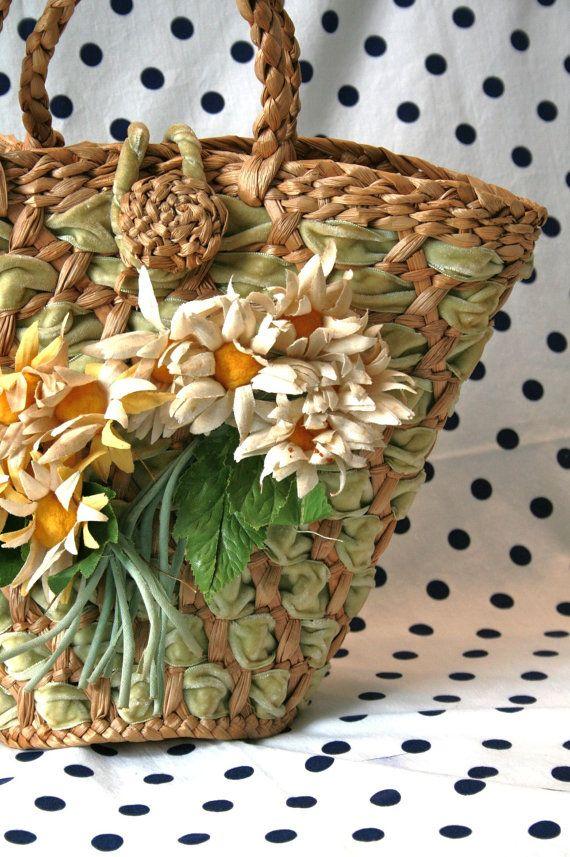 Vintage Basketweave Tote Bag Daisy Flowers by KitschDesignsVintage, $30.00