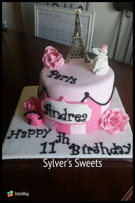 Pars Themed Birthday Cake Eiffel Tower Cookie Gumpaste Roses French