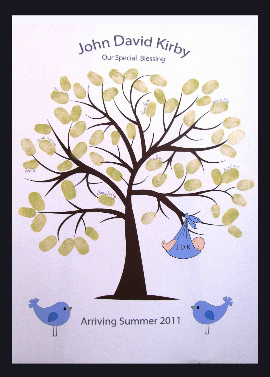 Baby Shower Tree Images ~ Sweet swirly thumbprint or fingerprint tree with baby and