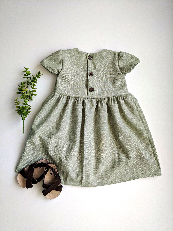 Green Easter Dress, Sage Green Dress, Dusty Green Dress, Baby Girl Easter Dress, Flower Girl Dress, Dusty Green, Sage Green, Linen Dresses #sagegreendress