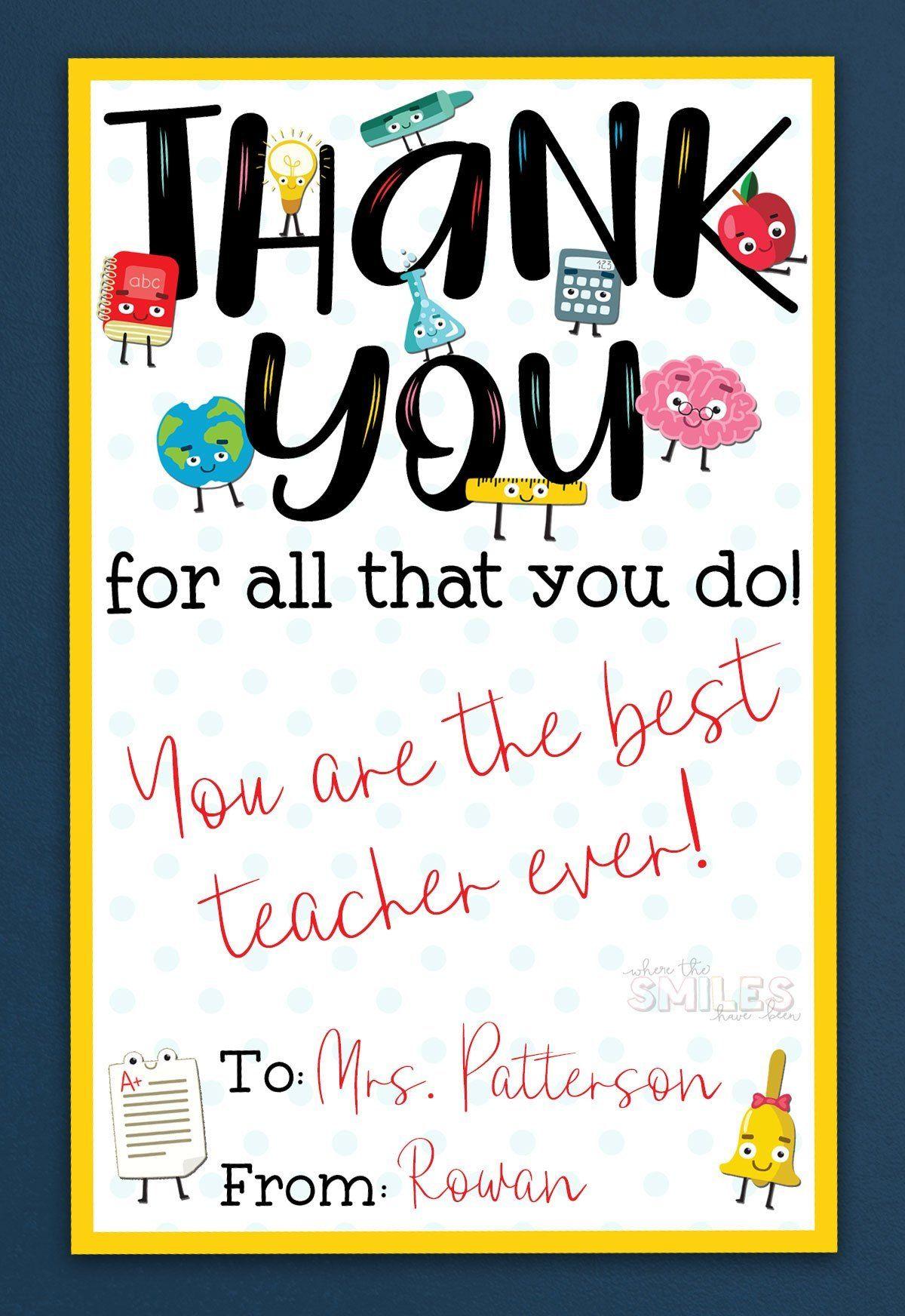 Free Teacher Appreciation Thank You Printable