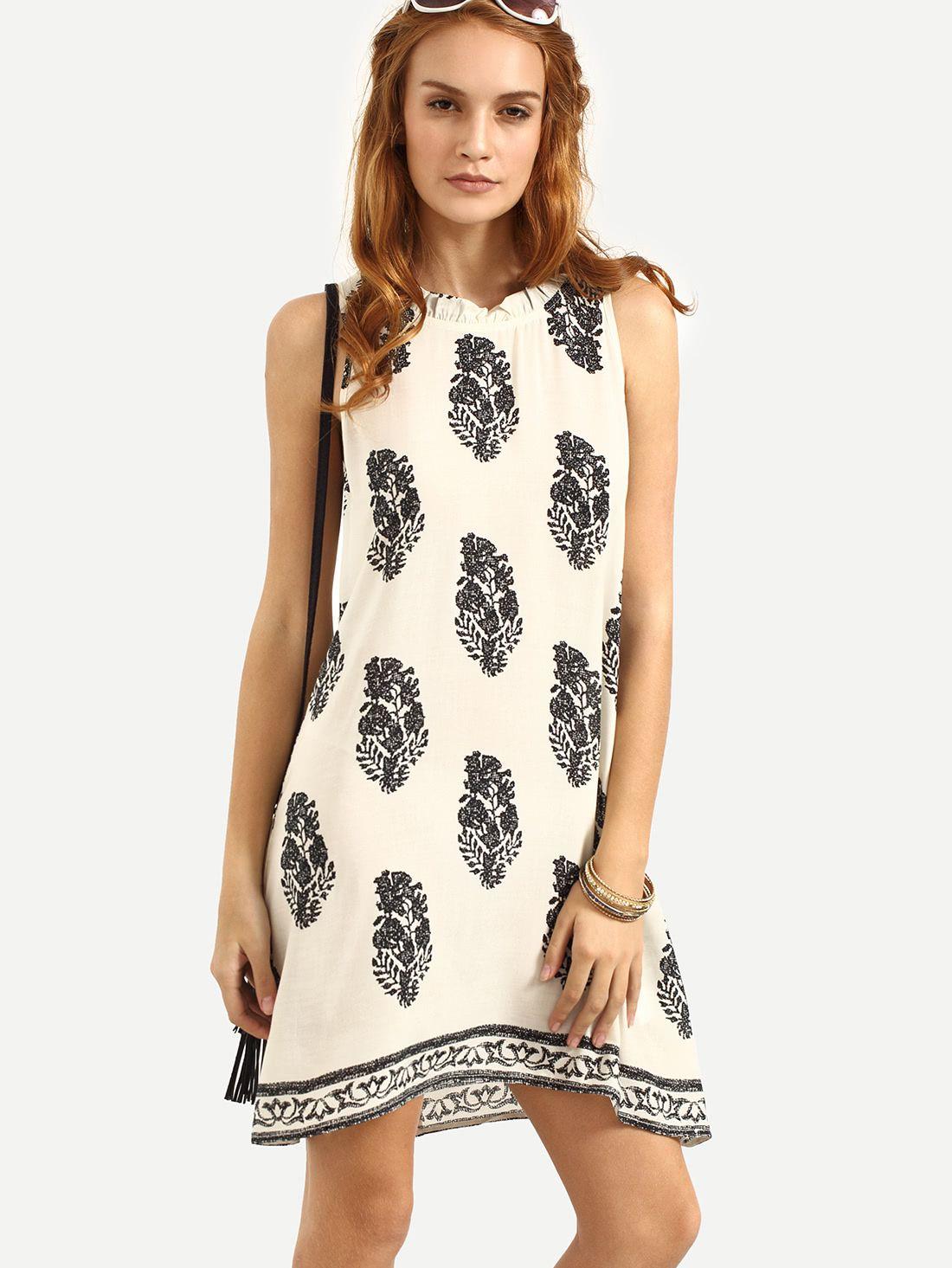 Shop Tie Back Leaf Tribal Print Beach Dress online. SheIn offers