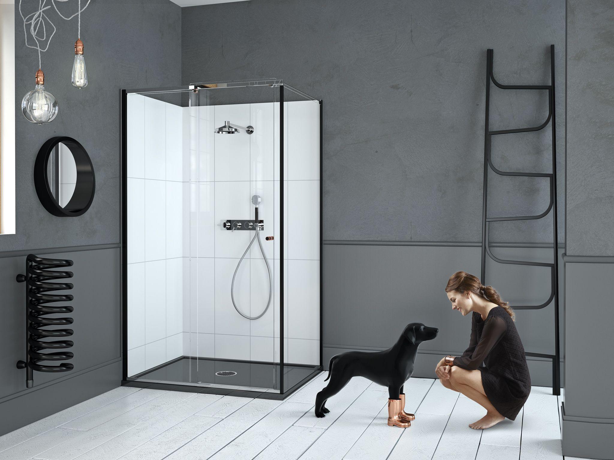 Matki-ONE Sliding Door for Corner with black frames and disc details ...