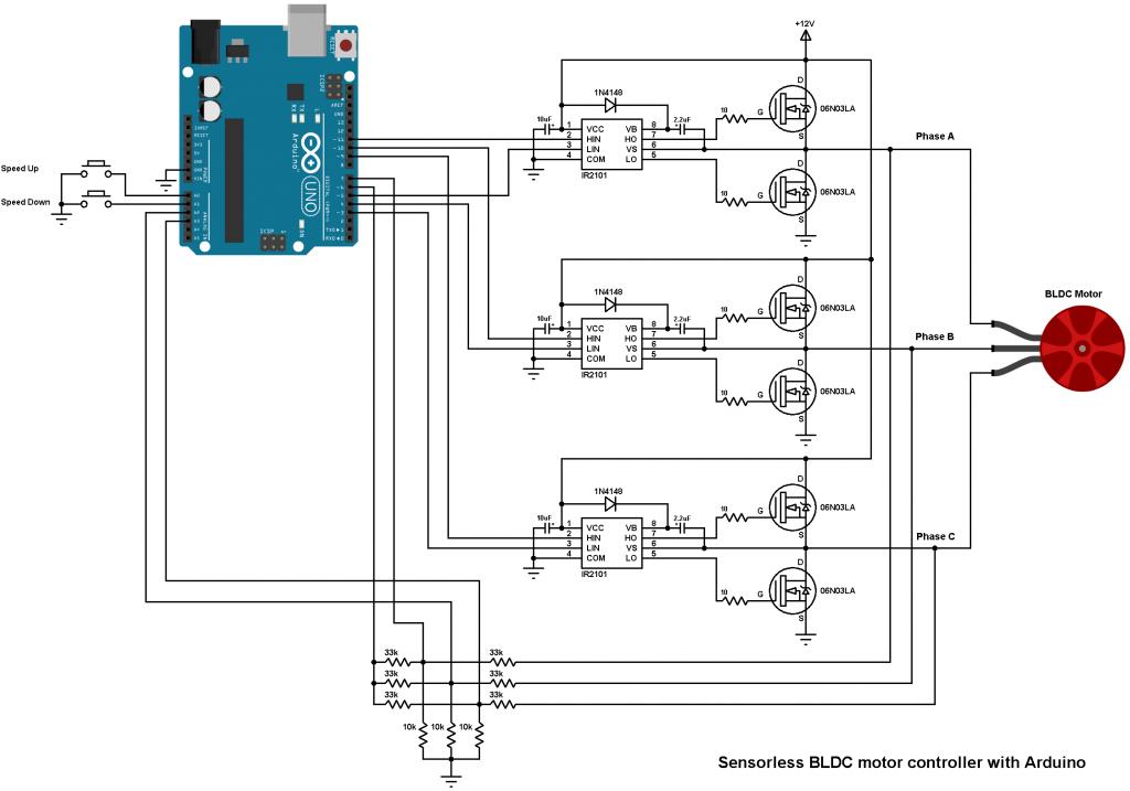 Arduino Bldc Motor Controller Diy Esc Ir2101 Arduino Motor Circuit Design Arduino