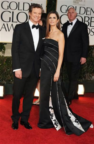 Colin Firth + wife 2012 Golden Globes