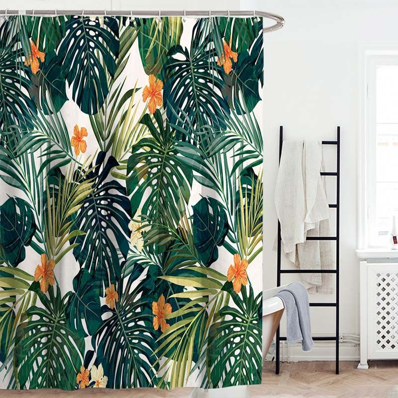 Modern Shower Curtain Green Banana Leaf Printed Shower Curtain