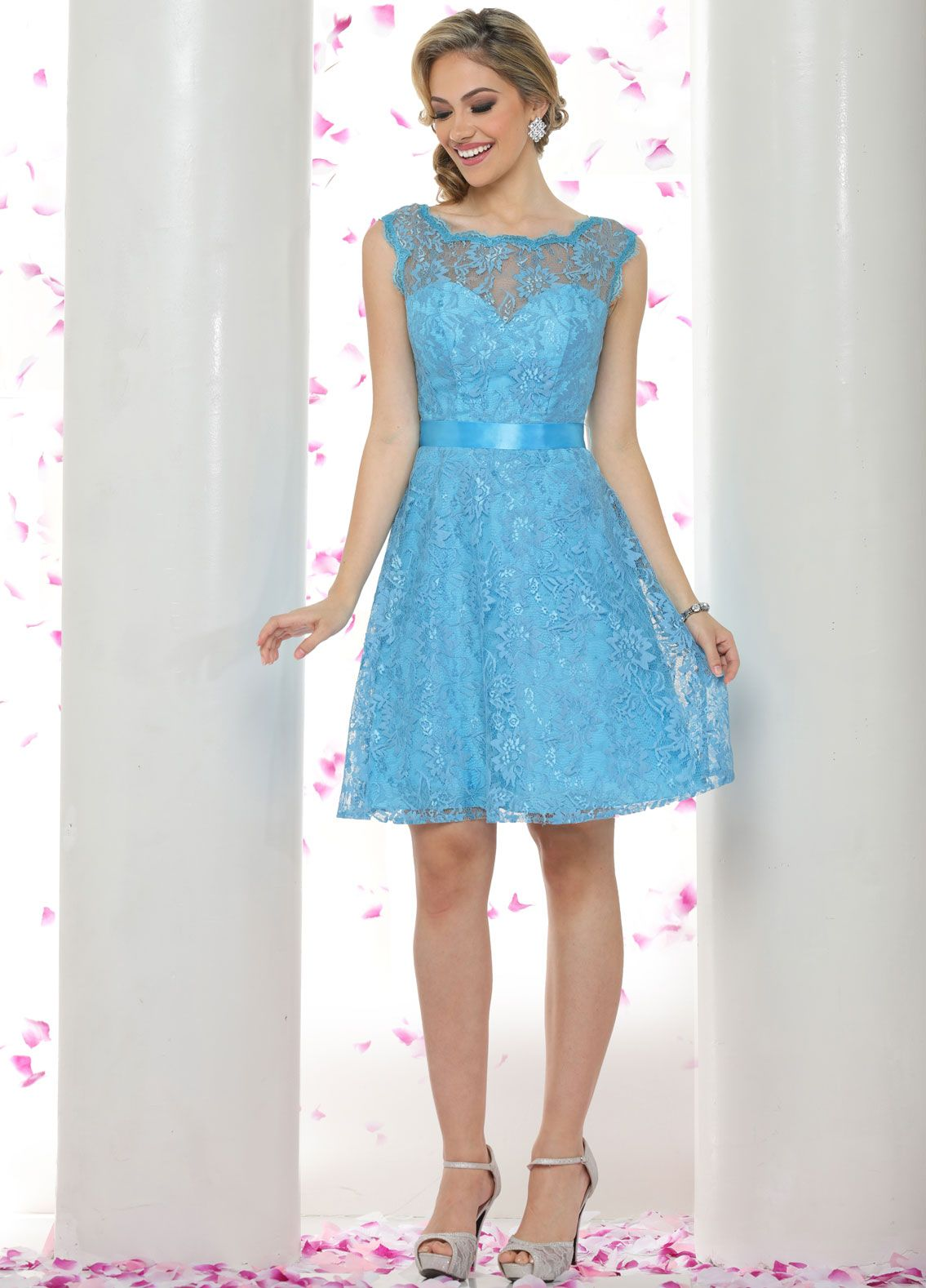 Short and sweet. This frothy fit-and-flare bridesmaid dress is a ...