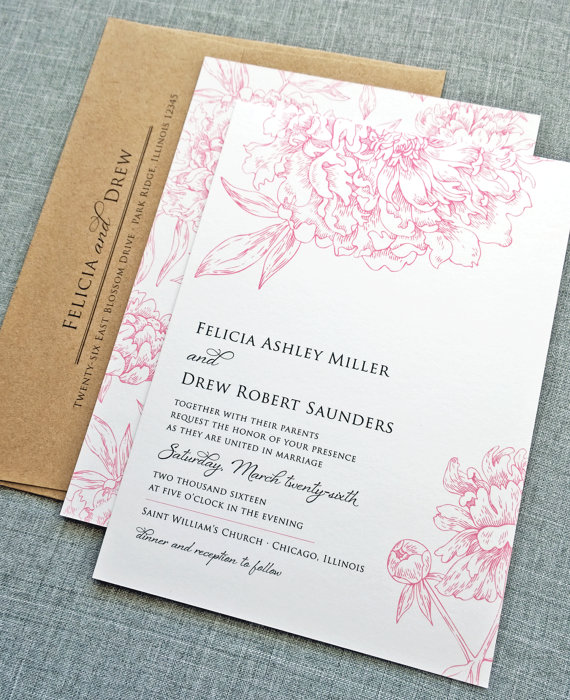 Felicia Pink Peony Wedding Invitation Sample By Cricketprinting 5 00 Bryan Aber