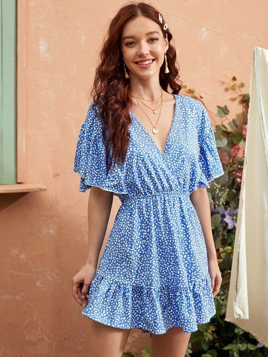 Affiliate Links Dalmatian Surplice Neck Ruffle Hem A Line Dress A Line Dress Dresses Casual Dress [ 1198 x 900 Pixel ]