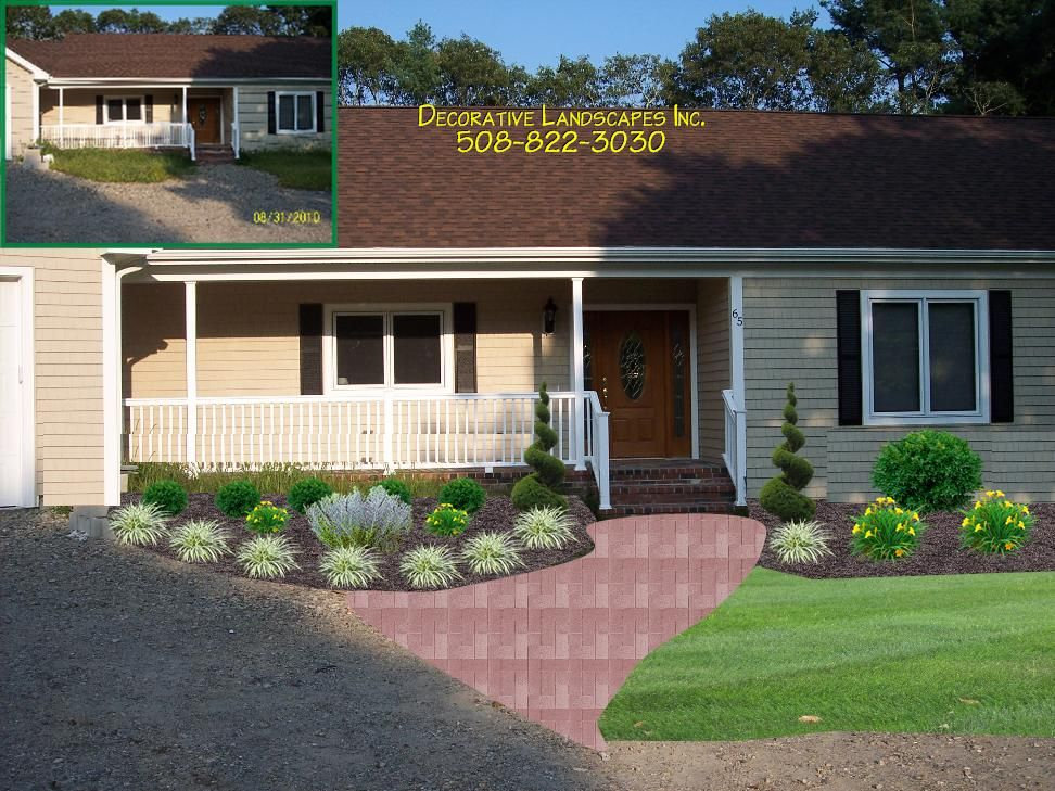 front yard landscaping for ranch style house