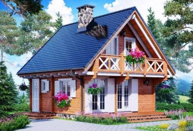 Młodzieńczy 7x5m piętrowy domek letniskowy 35m2 dom z drewna 10x5m całoroczny BJ27