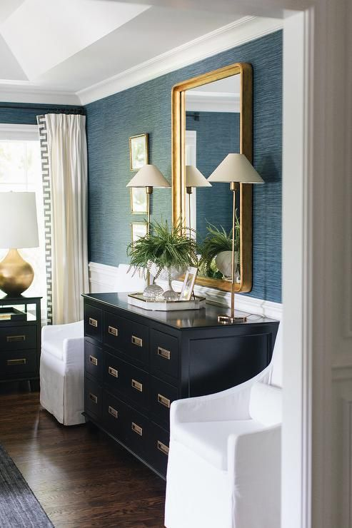 Black Apothecary Style Cabinet with Gold Mirror -
