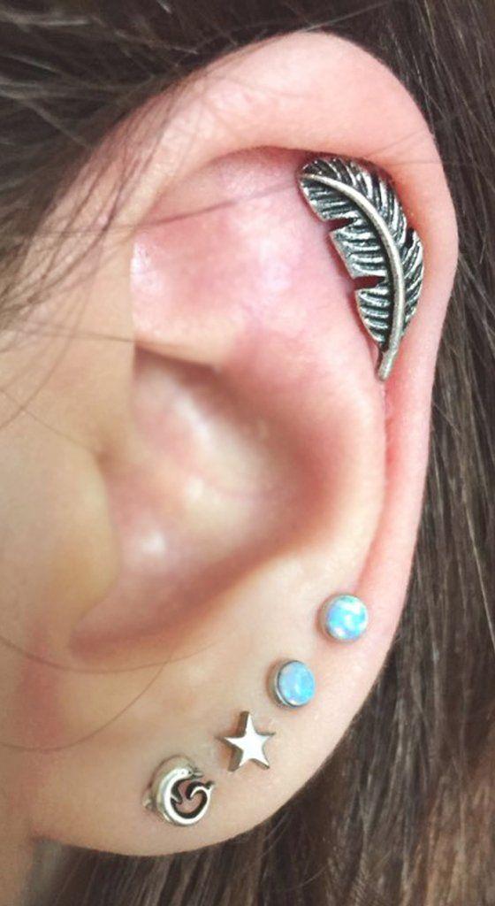 cfb1f3ac65aa1 Cute Pretty Ear Piercing Ideas at MyBodiArt.com - Leaf Feather ...