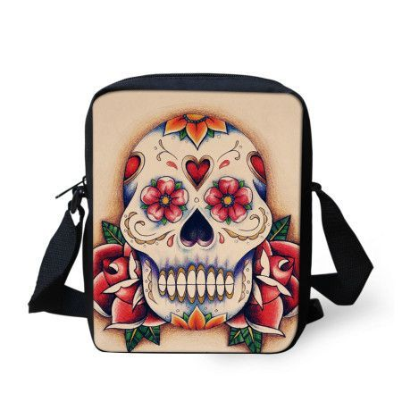 Retro Skull Printed Crossbody Bag
