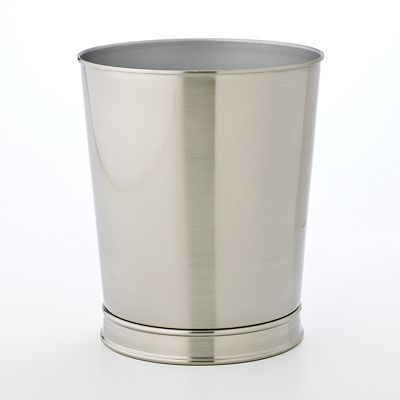 Kohl S Home Classics Brushed Nickel Wastebasket Waste Basket Bathroom Trash Can Bathroom Waste Basket