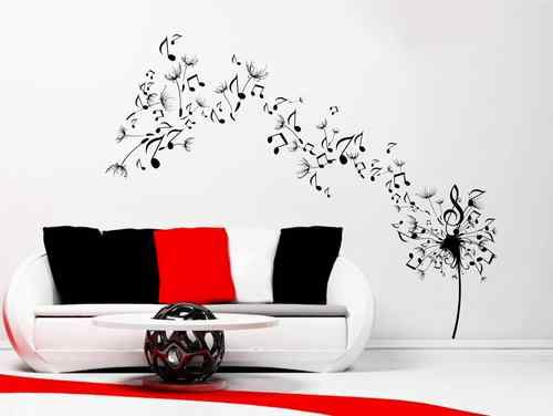 dandelion clock seeds music note wall decal sticker transfer stencil