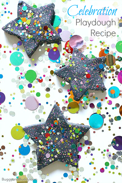 A fun and festive homemade playdough recipe to help kids celebrate special days- New Years, a birthday, or any other special event! (Celebration Playdough Recipe~ BuggyandBuddy.com)