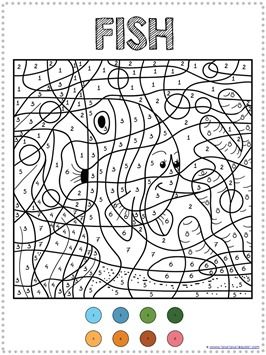 Color By Number Ocean Animals Coloring Pages Animal Coloring Pages Coloring Pages Cat Coloring Page