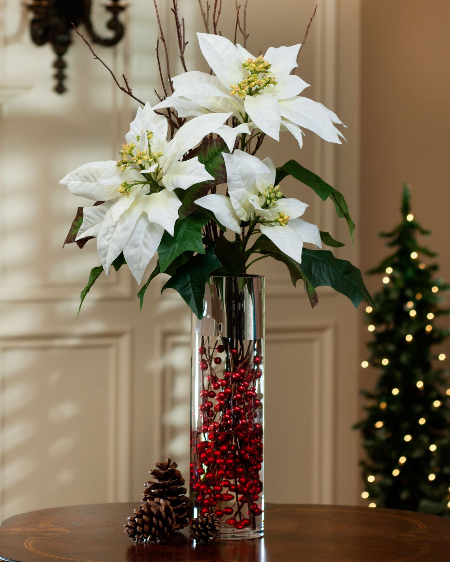 Tall Poinsettia Birch Berries Silk Arrangement White Christmas Flower Arrangements Christmas Floral Arrangements Christmas Decorations