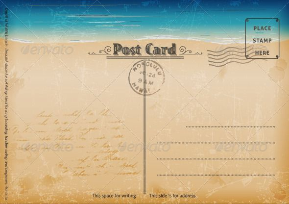 Vintage Summer Postcard Fonts and Template - postcard template