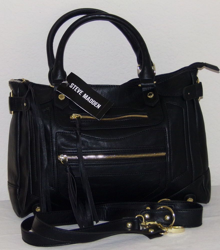 6101170595b STEVE MADDEN Handbags Black BTalia Satchel Handbag Purse Shldr Bag Org $88