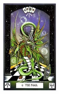 The Dragon Tarot by Donaldson and Pracownik  - The Fool - is a gambler who plays the odds, interested in people, lively, funny and compassionate guide ready for anything, both guide and gate keeper; knowledgeable, original and eccentric.