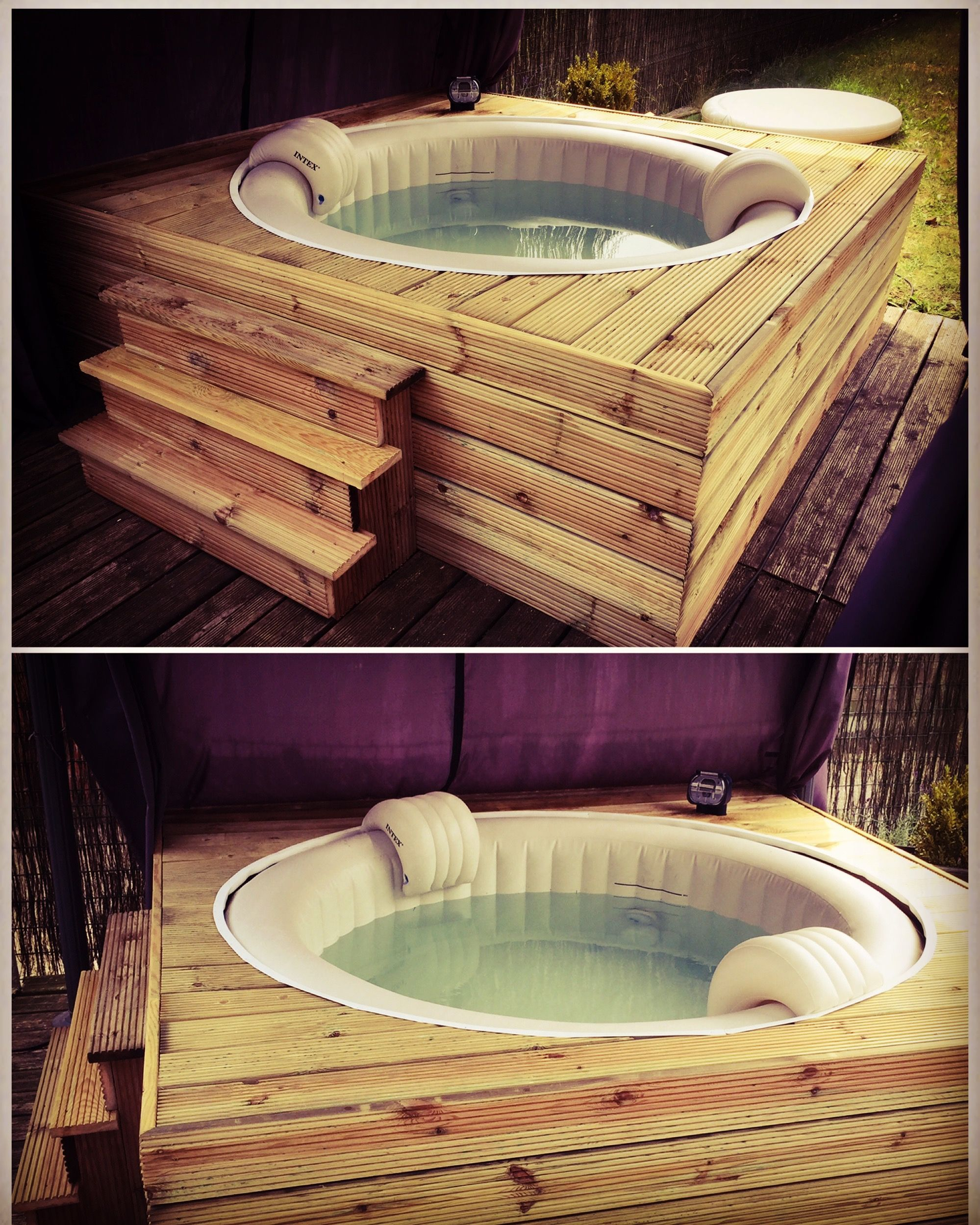 Habillage jacuzzi gonflable intex. Fabrication d'un habillage en sapin #hottubdeck