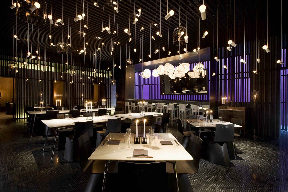 Contemporary Asian Restaurant Interior Design Awesome Bulbs Pendant Lighting Equipped With Purple Color Scheme Idea