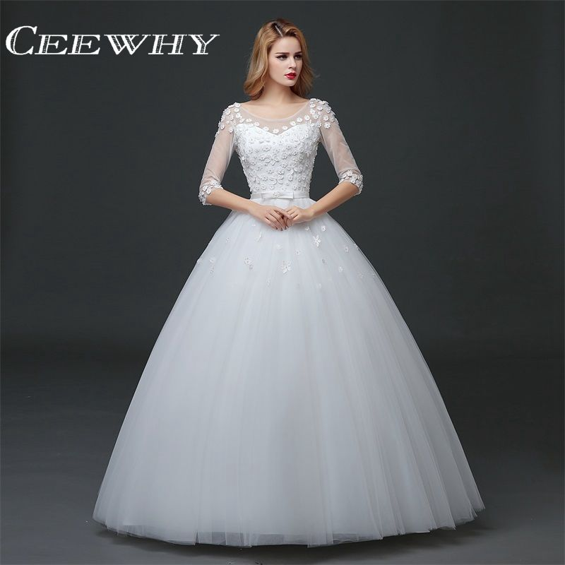 CEEWHY Back Lace-Up Pearls Wedding Dresses Embroidery Wedding Party ...