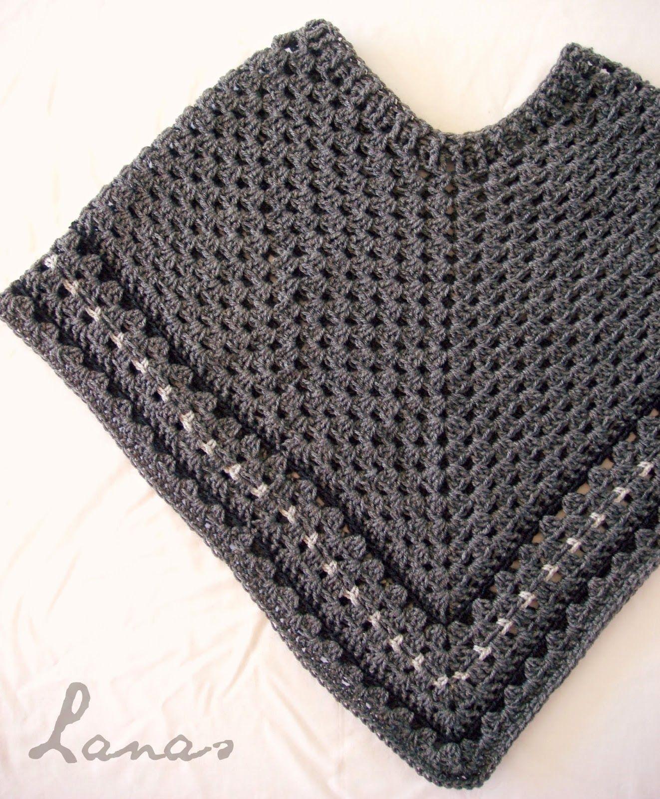Crochet) A granny poncho in dark grey… Un poncho granny en color ...