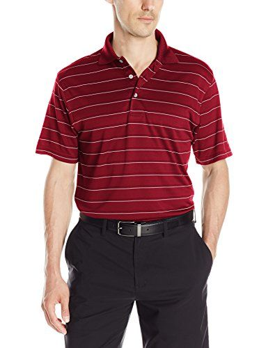 PGA TOUR Mens Golf Performance Short Sleeve Airflux Three Color Stripe Polo Shirt Cabernet XLarge -- You can find more details by visiting the image link.
