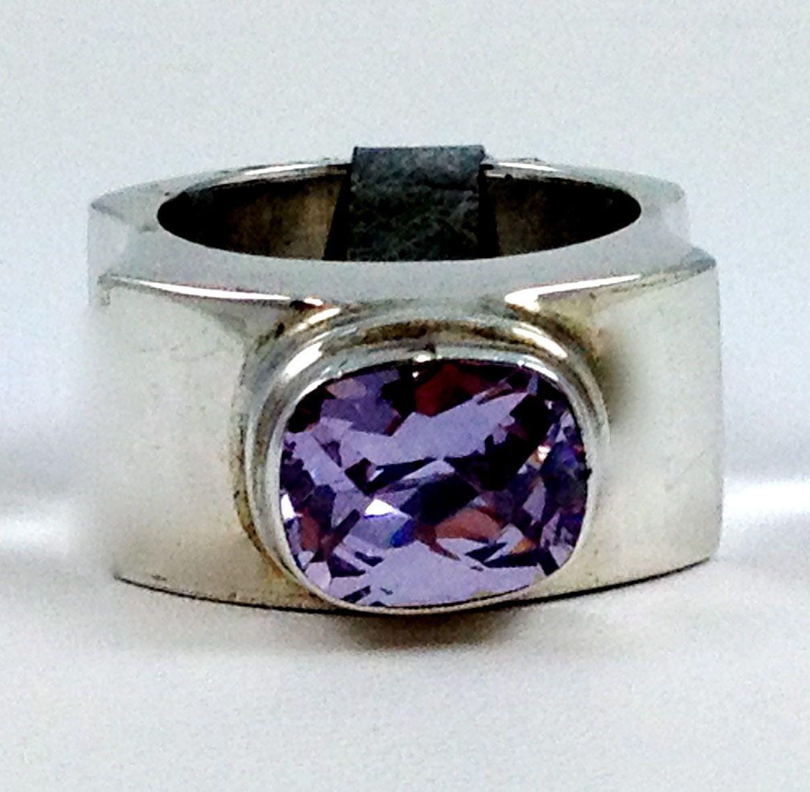 New Designer Sarda Size 7 Sterling Silver Ring Big Bold Purple Lavender Ring   eBay
