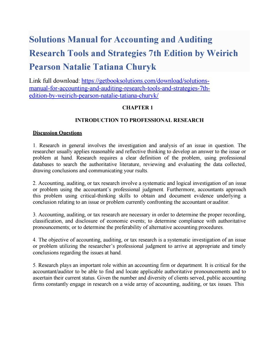 Solutions manual for accounting and auditing research tools and strategies  7th edition by weirich pe