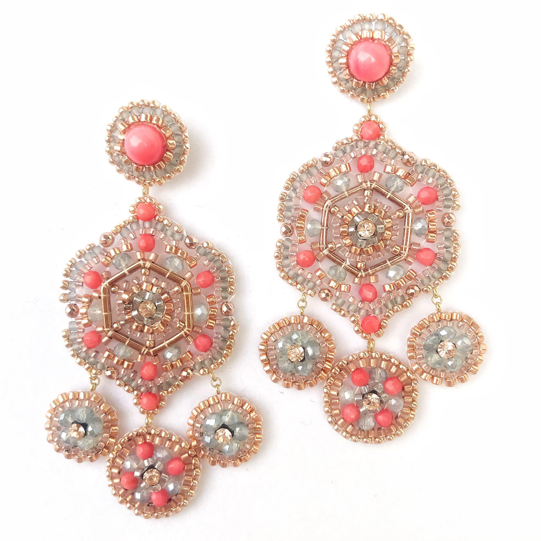 Coral earrings Rose gold chandelier earrings earrings