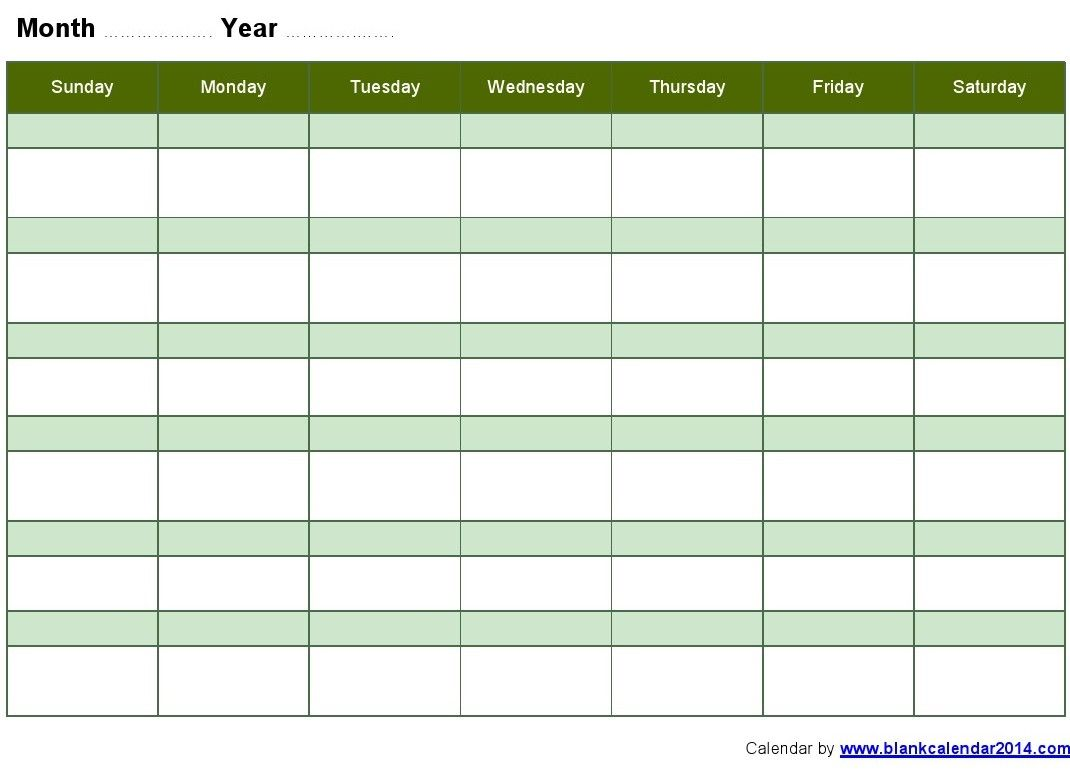 Weekly Blank Monthly Calendar Template  Calendar