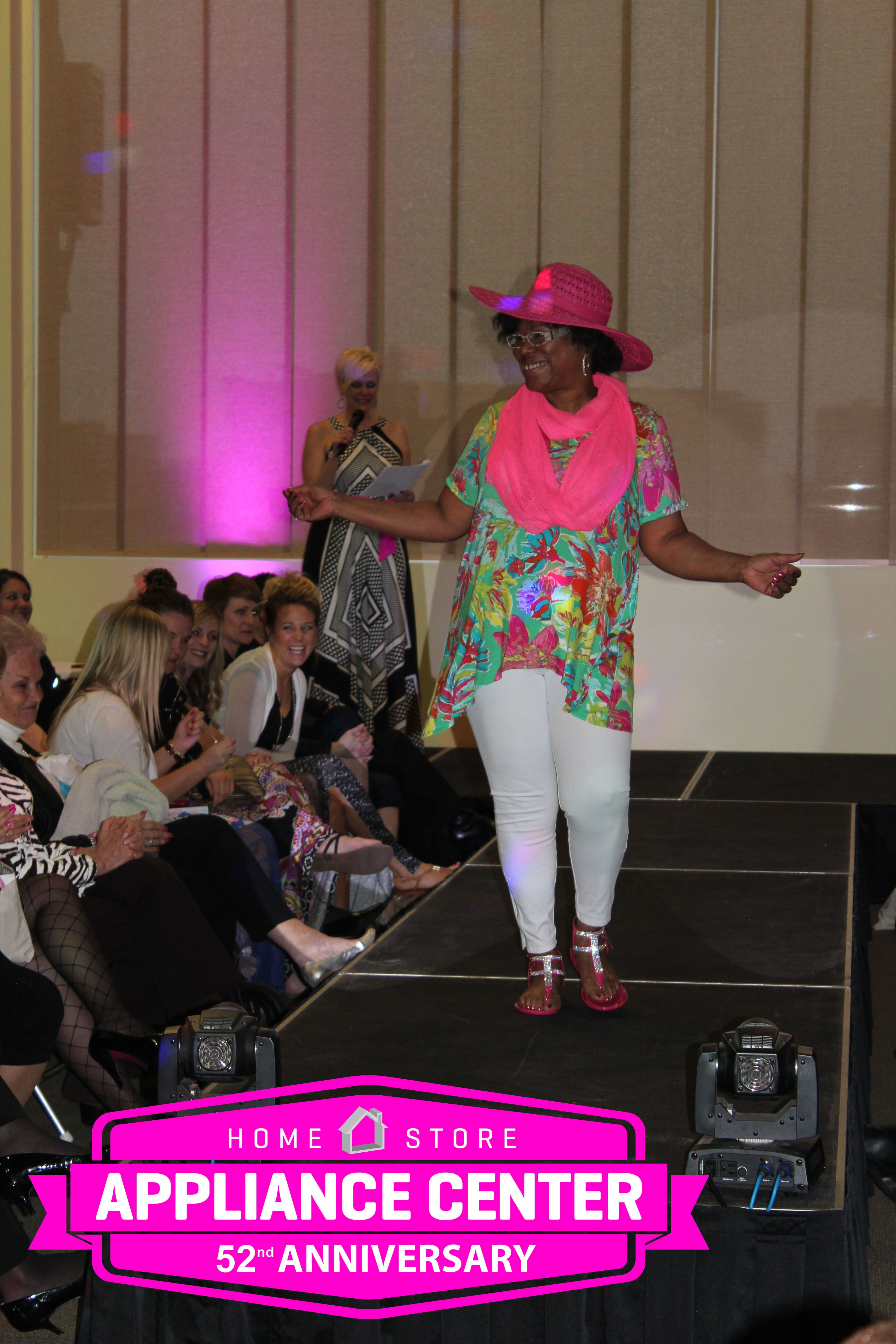 One of the Survivors Modeling in the Fashion Show.  Fashion Show - Clothes by Elder Beerman