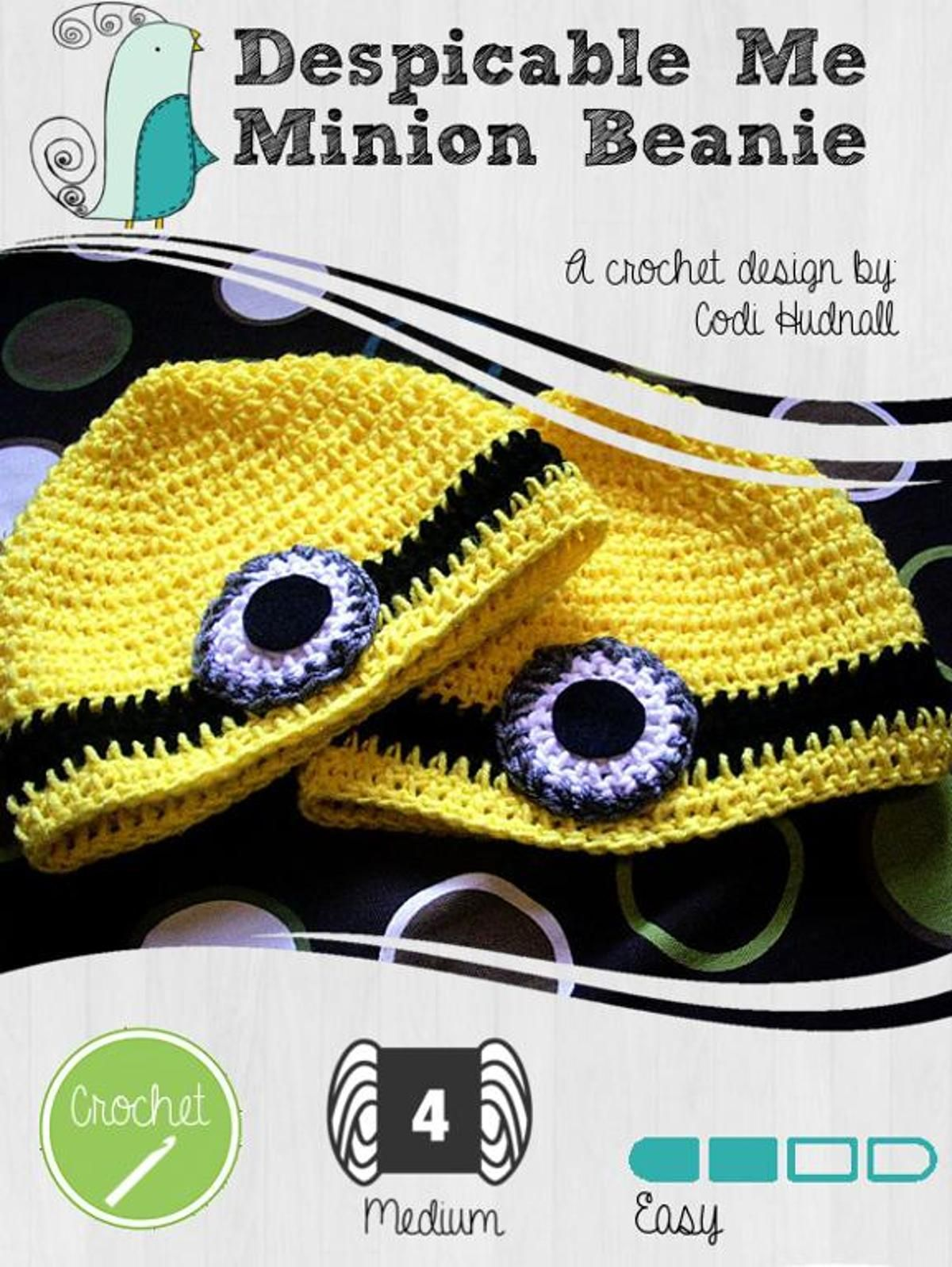 Despicable Me Minion Beanie Hat | Craftsy | caciulite lectii | Pinterest