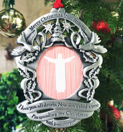 Personalized Merry Christmas from Heaven ® Pewter PHOTO Ornament - Personalized Merry Christmas From Heaven ® Pewter PHOTO Ornament